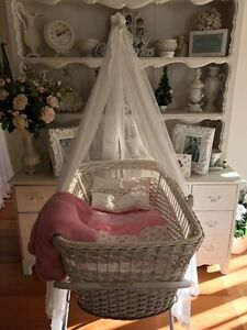 Baby Bassinet cot with Stand and Net! Displayed Reborn dolls Docklands Melbourne City Preview