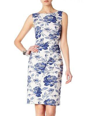 Phase Eight Vintage 50ss Style Rose Jacquard Wiggle Shift Dress White/Blue UK14