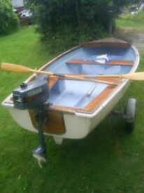Fishing Boat/Pleasure Boat with Trailer and Outboards.