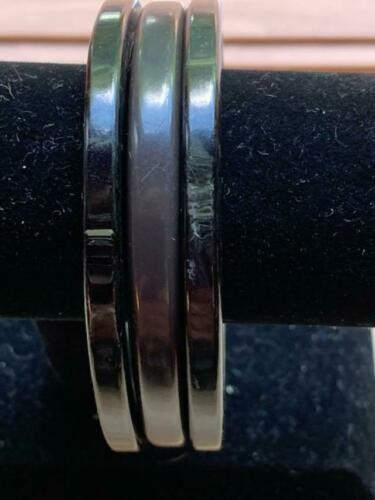 Set of 3 Bakelite Bracelets-Solid Black & Marbelized Black With Mustard- Tested
