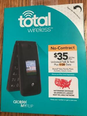TOTAL WIRELESS ALCATEL MYFLIP A405 Prepaid Flip Cell Phone BRAND NEW