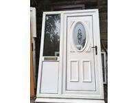White UPVC DOOR WITH SIDE GLAZED PANEL