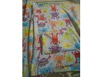 Lovely monster/alien curtains and single bed set including tiebacks and pillowcase