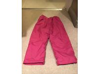 JoJo Maman Pink Waterproof Trousers Age 4-5 years