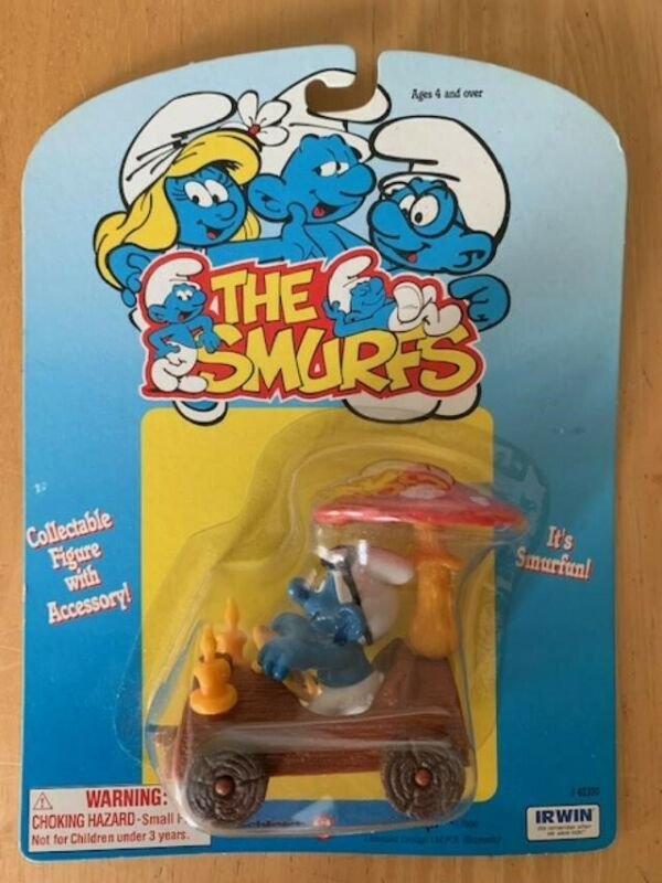 Vintage 1982 Super Smurf Log Car With Smurf 40232 Complete PVC Figure