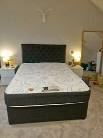 Brand New Double Divan Bed Base, Headboard and Quality Mattress (Optional)