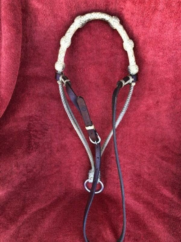 """Used Western Rawhide """"Wrapped"""" Nose Band Marked """"NRS"""" ,Tie Down, and Martingale"""