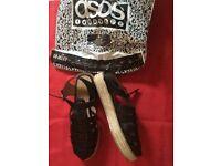 Black Caged Espadrille Platform Shoes ASOS