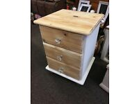 Shabby chic pine bedside chest of drawers