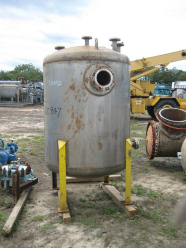 500 Gallon Stainless Steel Vessel, Vertical, 15fv Psi @ 100f