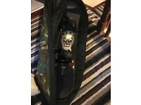 Lamar Trippea snowboard, boots and bag