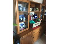 Solid Elm ERCOL Windsor Glazed Display Wall Unit Sideboard with Drawers