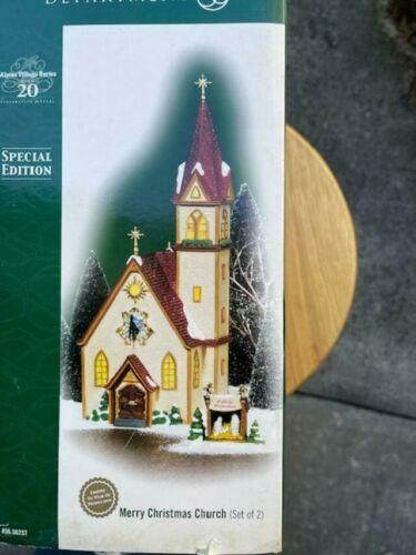 DEPT 56 ALPINE Village MERRY CHRISTMAS CHURCH NIB