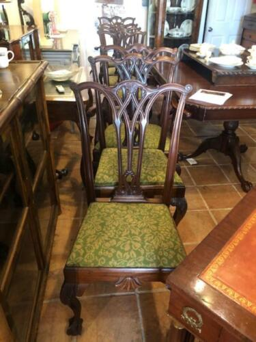 Set of 8 Antique Mahogany Chippendale Style Dining Chairs 2 Arm and 6 Single
