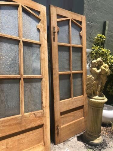 6 LARGE ANTIQUE GOTHIC STYLE PINE DOOR WITH GLASS ARCHITECTURAL SALVAGE