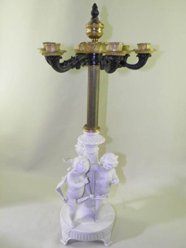 Antique German Bisque Volkstedt-Rudolstadt Figural Candelabra  Gilded Empire Top