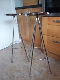 Chrome and tempered glass bar / bistro table with 2 stools