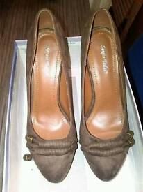 Brown Suedette Stilletto Shoes from Sergio Todzi Heel measures 5 inches Size 39 Exeter