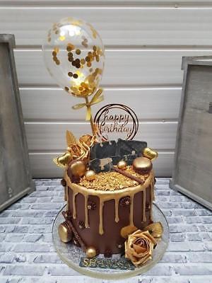 BALLOON CAKE TOPPER GOLD CONFETTI WEDDING PARTY BIRTHDAY INSERT STRAWS DESSERTS