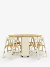 New - Adler Butterfly Drop Leaf Folding Dining Table and Four Chairs