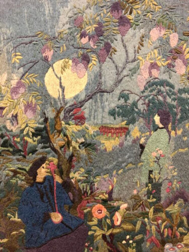 Framed ART DECO Embroidered Picture Tapestry Moderne