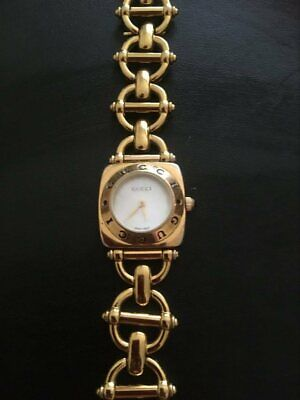VINTAGE 18K Gold Plated GUCCI 6400L HORSEBIT LINK BRACELET LADIES WATCH (100% Au