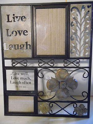 "14.5"" metal & glass Live, Love, Laugh decorative picture frame"