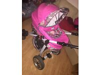 Pink 3 in 1 pushchair in very good condition. Comes with nappy bag and rain cover