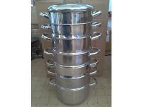Stainless Steel 7 tier Steamer with Double boiler pan