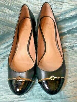Tory Burch Pacey Black Leather Patent Cap Round Toe  Pumps Gold Trim  size 9M