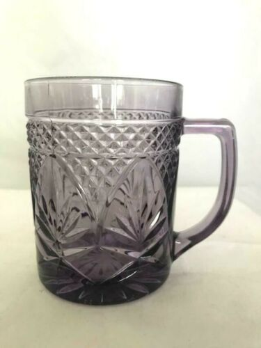 Collectible Amethyst/Lt.Purple Pressed Glass Mug/Cup-Made in U.S.A.-Hard to Find