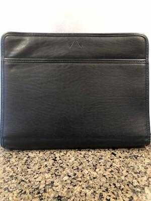 Leather Portfolio Full Zip Case - Black - Several Compartments - Free Shipping