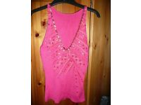 Next pink sequined top - size 10