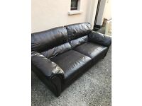 **price reduced**Brown Leather 3 seater sofa