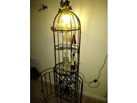 iron wine rack / home bar with light