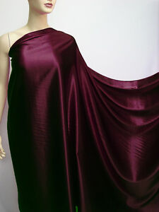 Deep Burgundy Color Pure Mulberry Silk Satin Charmeuse Fabric Per 0.5 Meter