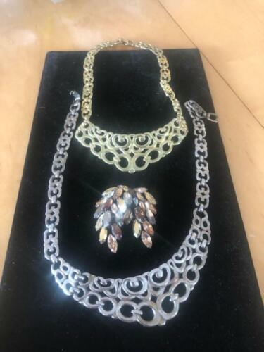 Fashion Jewelry Choker Necklaces and Coordinating Brooch - Preowned