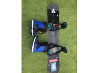 K2 snowboard, Nike boots and bag