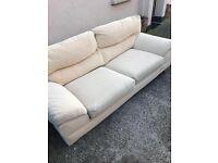 **price reduced **cream 3 seater fabric sofa