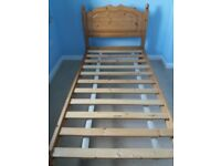 solid pine bed with mattress