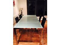 Glass Top Dining Table and Five Chairs Set
