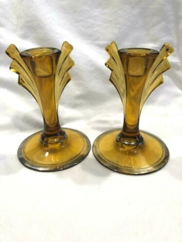 """CANDLE HOLDERS AMBER DUNCAN & MILLER 6"""" X 4"""""""