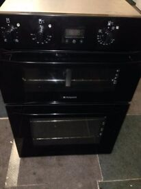 black hotpoint built in double oven electric