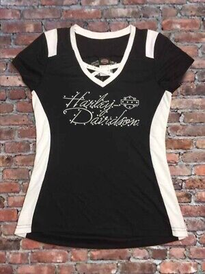 """Harley-Davidson Women's """"Fire & Ice"""" cross neck bling white & black Medium shirt"""
