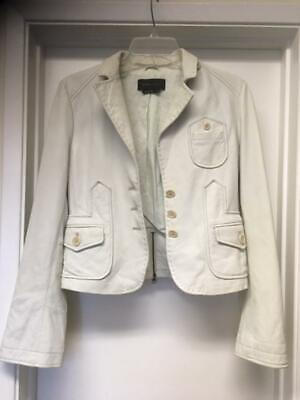 BCBG BCBGMazAzria White Soft Leather Moto Button Jacket Sz Small Great !