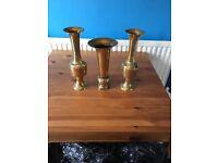 3 brass vases