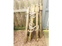 X6 wooden decking posts and rope