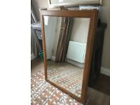 Oak surround bevelled mirror for sale