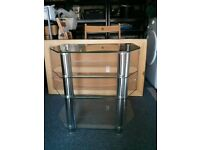 Modern glass shelves TV or audio stand. Great condition.