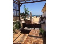 Beachfront house to rent in La Mata-Alicante. Holds up to 12 people. Large patio, food facilities